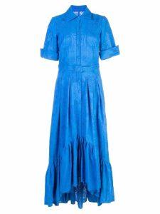 Badgley Mischka perforated detail dress - Blue