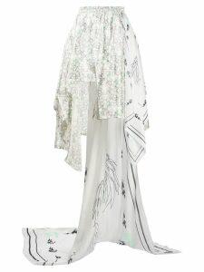 Barbara Bologna contrast panel handkerchief skirt - White