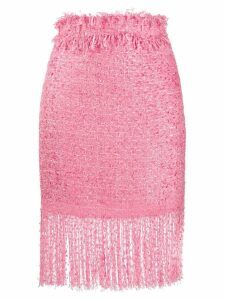 MSGM tweed fringe skirt - Pink