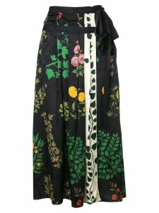 Oscar de la Renta floral print pleated midi skirt - Black