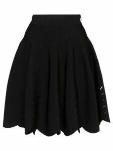 Alexander McQueen laser-cut flared mini skirt - Black