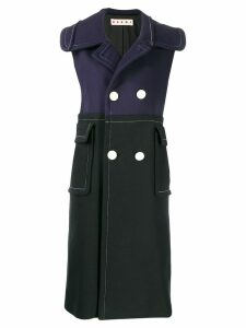 Marni double breasted sleeveless coat - Y5664 Black Light Navy