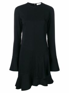 Victoria Beckham long sleeve frill mini dress - Black