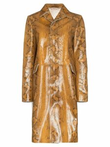 Marni snakeskin-print single-breasted coat - Neutrals