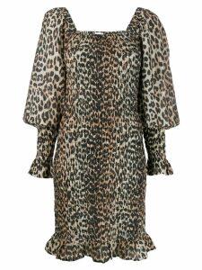 Ganni leopard print smock dreess - Brown