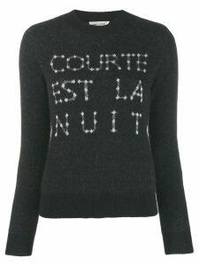 Saint Laurent French slogan intarsia sweater - Black