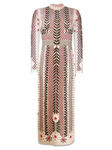 Temperley London teahouse sleeved dress - Neutrals