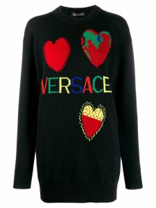 Versace jacquard knit logos sweater - Black