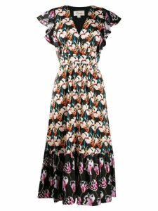 Temperley London contrast floral print dress - Black