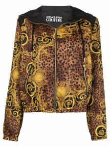 Versace Jeans Couture baroque print hooded jacket - Brown