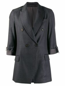 Brunello Cucinelli double-breasted fitted blazer - Grey