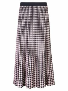 Derek Lam 10 Crosby Pleated Gingham Jacquard Skirt - Blue