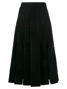 Valentino Crystal Embellished Pleated Virgin Wool Skirt - Black