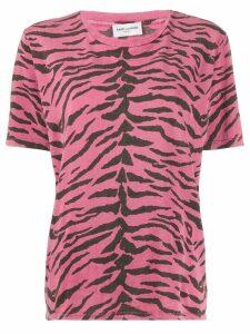 Saint Laurent zebra print T-shirt - Pink