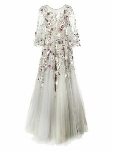 Marchesa embroidered floral flared gown - Grey