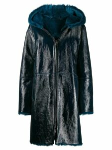 Manzoni 24 fur-trimmed coat - Blue