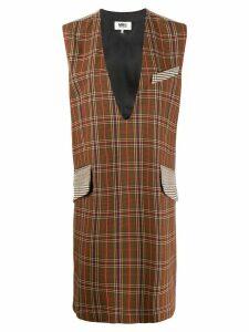 Mm6 Maison Margiela mixed check dress - Brown