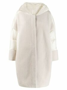 Liska panelled shearling and shell coat - White