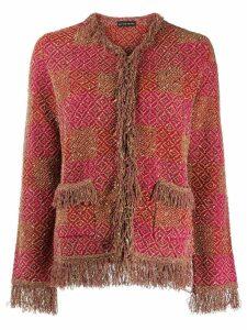 Etro fringed tweed jacket - Red