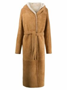 Liska Teddy hooded longline coat - Brown