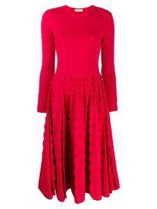 Valentino scallop trim dress - Red