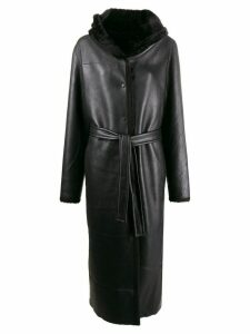 Liska Teddy hooded longline coat - Black