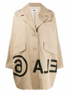 Mm6 Maison Margiela logo-print cocoon coat - Neutrals