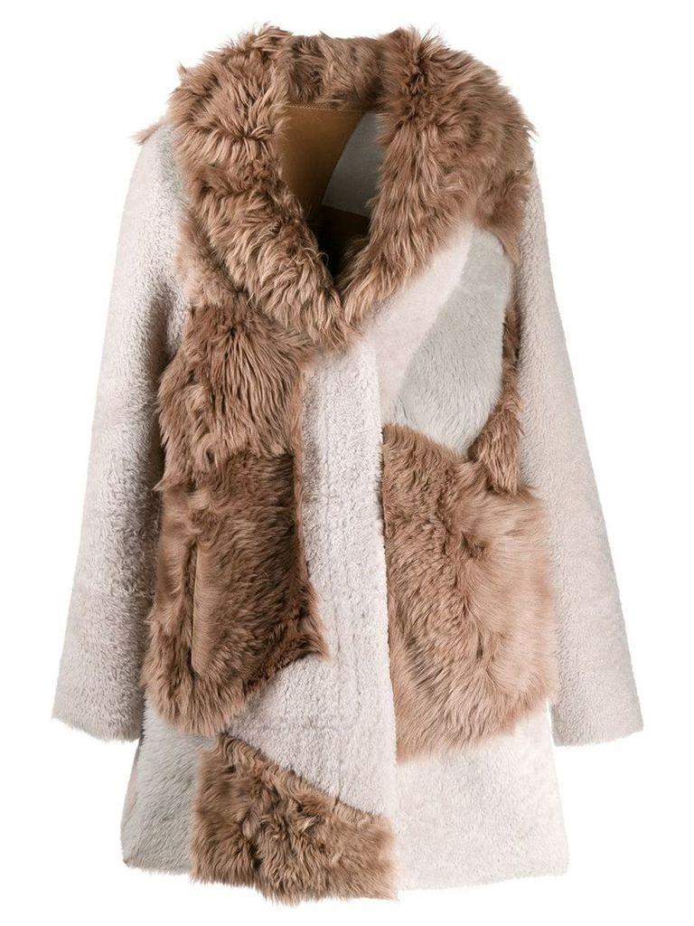 Liska patchwork coat - Brown