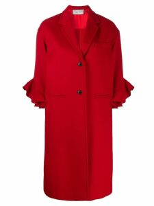 Valentino ruffle sleeve coat - Red