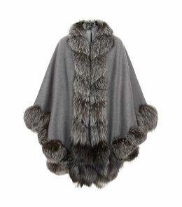 Spiral Fox Fur Trim Cape