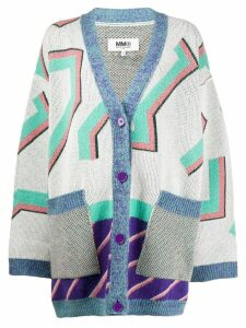 Mm6 Maison Margiela oversized knitted cardigan - Neutrals
