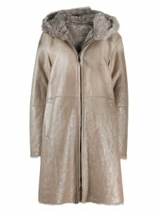 Manzoni 24 fur-trimmed coat - Neutrals