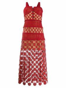 Self-Portrait floral lace dress - Red