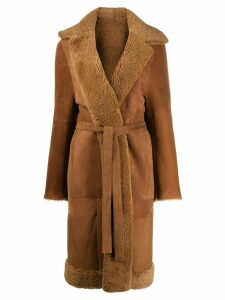 Liska panelled longline coat - Brown