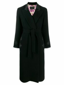 Etro embroidered trim coat - Black