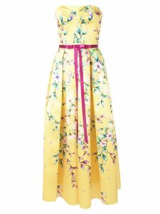 Marchesa Notte Mikado tea midi dress - Yellow