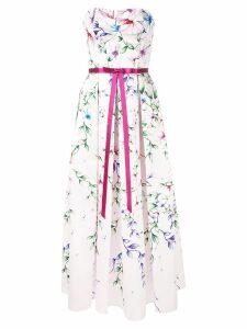 Marchesa Notte Mikado midi tea dress - White