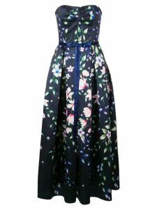 Marchesa Notte floral A-line dress - Blue