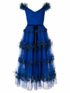 Marchesa Notte tulle off the shoulder dress - Blue