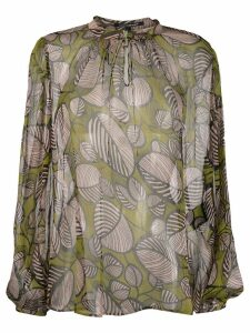 Luisa Cerano sheer foliage print blouse - Green