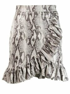 MSGM ruffled snakeskin print skirt - Grey