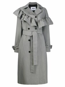 MSGM ruffled houndstooth coat - Grey