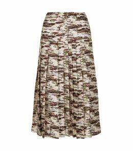 Abstract Print Pleated Midi Skirt