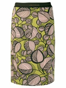 Luisa Cerano foliage print fitted skirt - Green