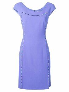 Emilio Pucci Cap Sleeve Contrast Trim Dress - Purple