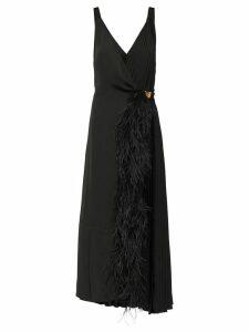 Prada feather trimmed wrap dress - Black