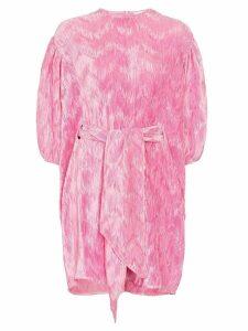Ganni puff sleeve mini dress - PINK