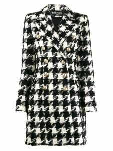 Balmain Houndstooth double-breasted coat - Black