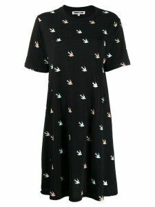 McQ Alexander McQueen swallow print T-shirt dress - Black