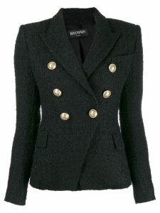 Balmain double breasted tweed blazer - Black